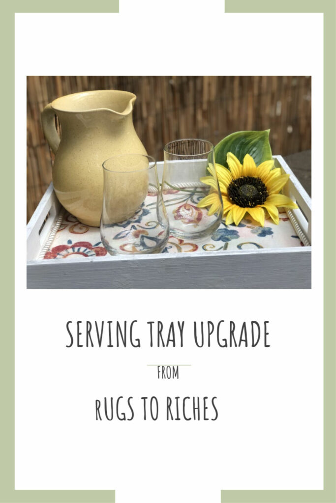 Check out our serving tray makeover. Rags to riches! Farmhouse tray diy. Fabric decoupage home decor