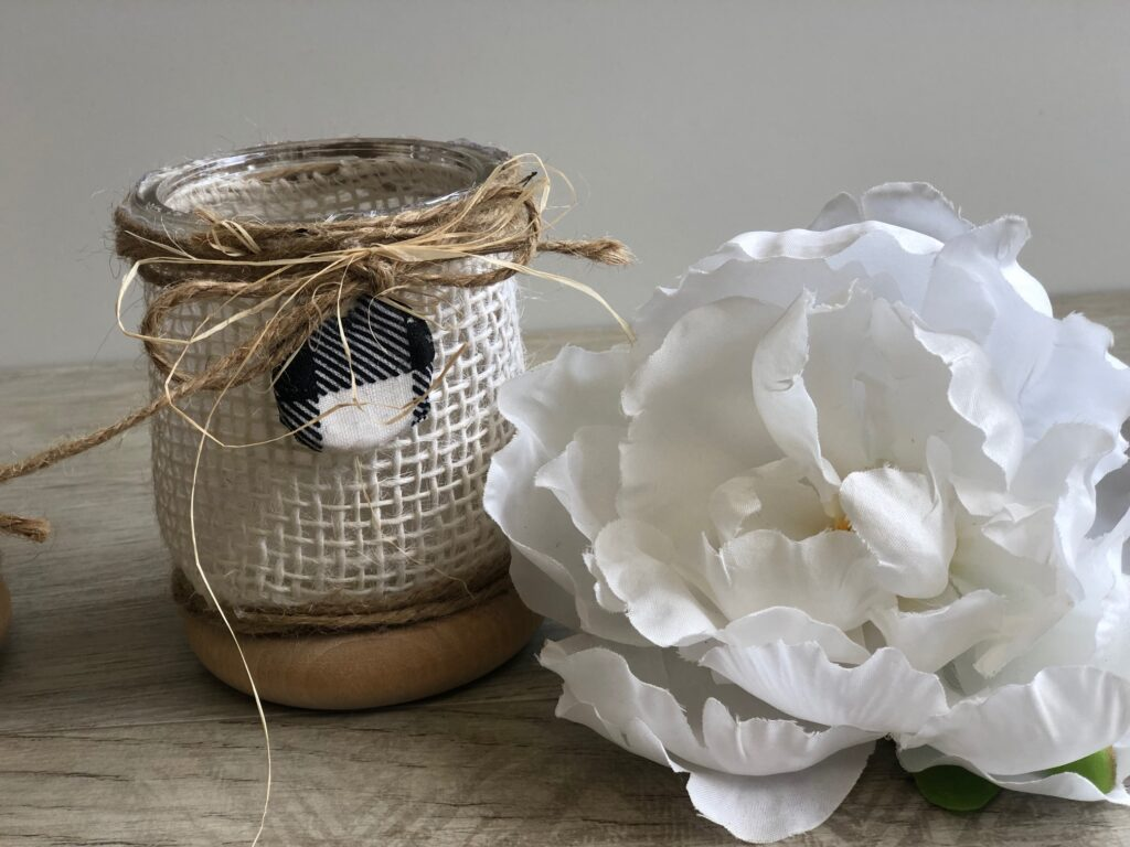 Rustic oui yogurt jars with burlap and twine bow, clay charm
