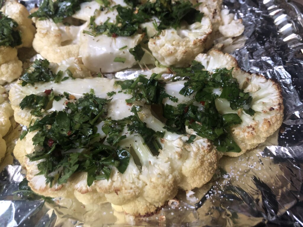 it is for sure one of the best recipes for BBQ gatherings Chimichurri cauliflower steaks