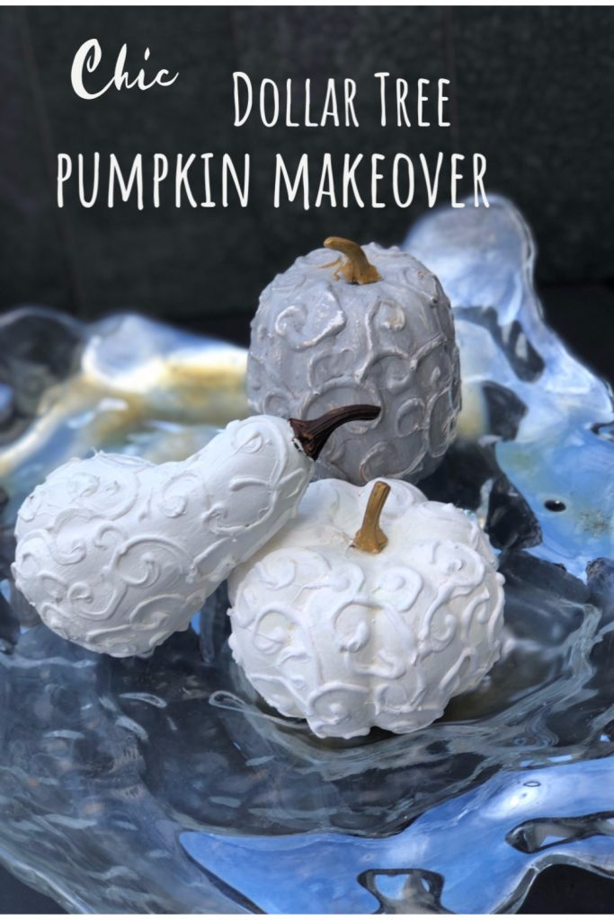 Learn how to turn Dollar Tree pumpkins into One Chick Fall Decor. Easy to follow directionsElegant Chic Dollar Tree pumpkin craft diy . Budget friendly fall Decor Idea. Easy pumpkin fall decor idea