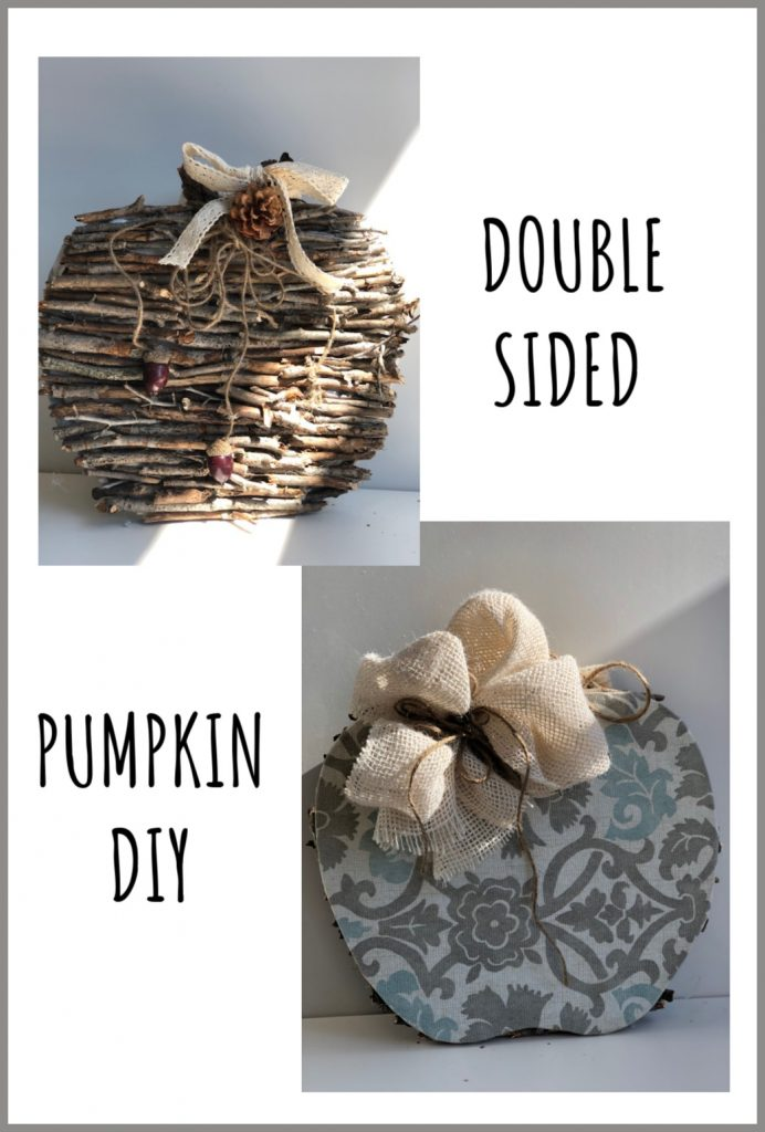 Let's make a double sided pumpkin diy to fit any fall home decor mood. Wood stick pumpkin diy. Fabric pumpkin. Simple folded bow