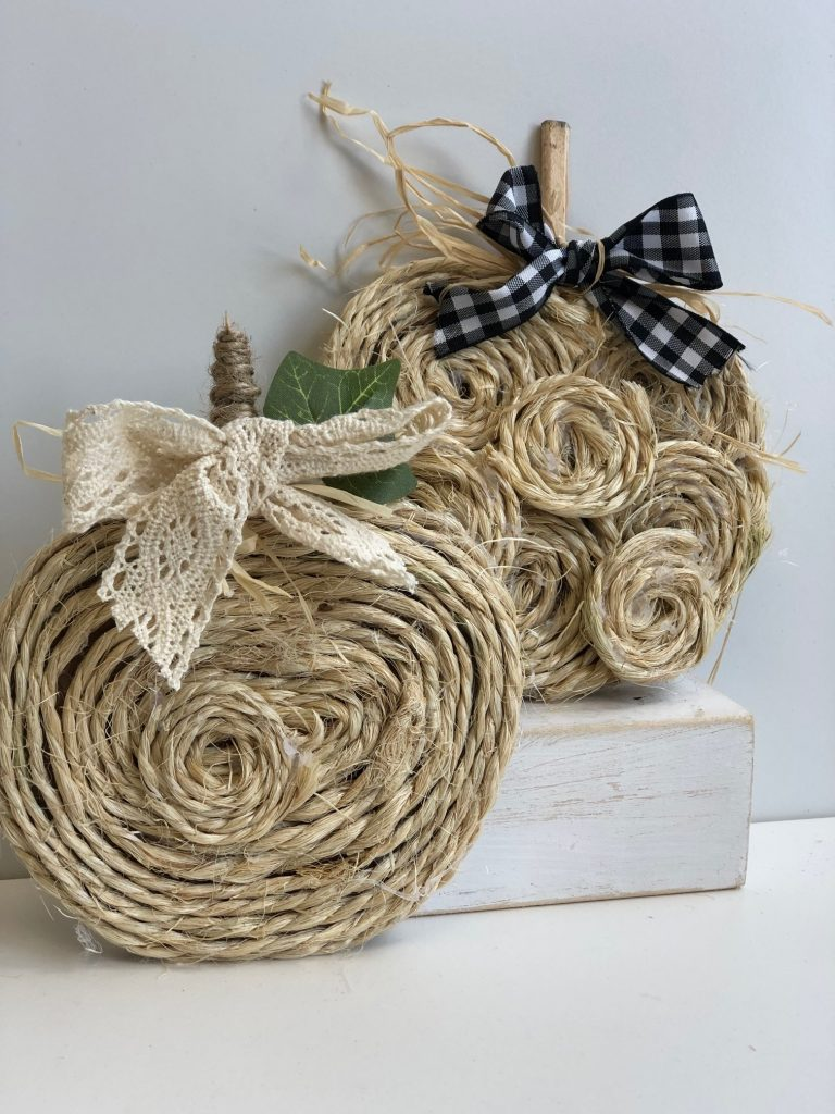 Pair of mini fall pumpkins made out of rope. Budget friendly  diy project