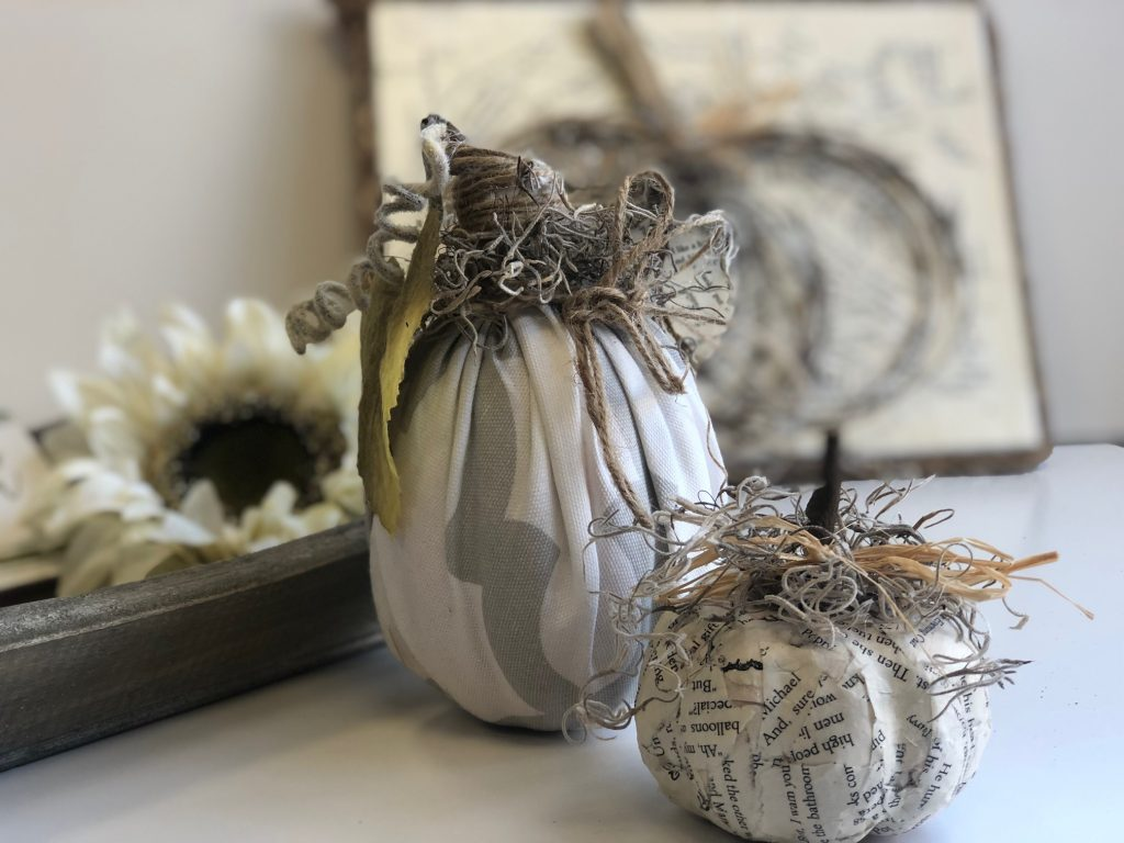 Let's put those scraps to use and create some fall decor. Book pages fall craft. Rustic fall decor. Fabric pumpkin.Book pages grapevine fall pumpkin diy. easy fall decor diy