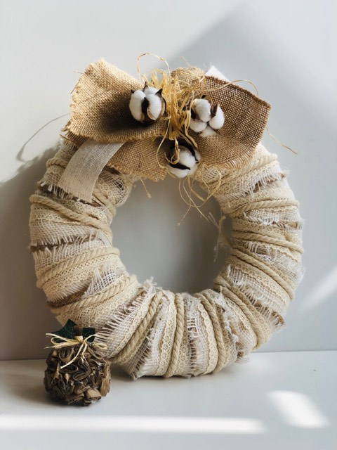 Layered Timeless Fall Wreath with rustic burlap bow with cotton and raffia