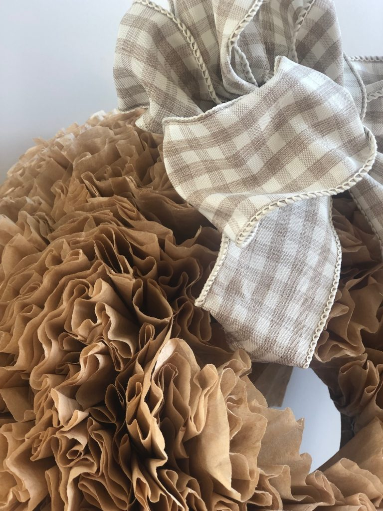 Texture and softness of this coffee filter wreath will add for sure some much character to your space! Elegant fall wreath DIY with Easy Simple Folded Bow.buffalo check bow