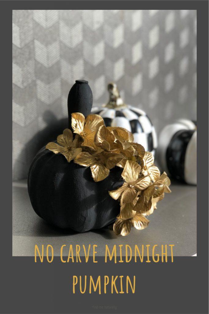 No carve Halloween pumpkin. This one is going to be a the perfect mix of sweet & spooky fall decor. Dollar Tree elegant black pumpkin
