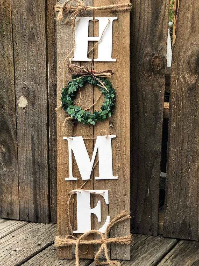 Wooden HOME sign made out of Target garland. Perfect all year round decor for your porch or mantel. Easy to follow instructions