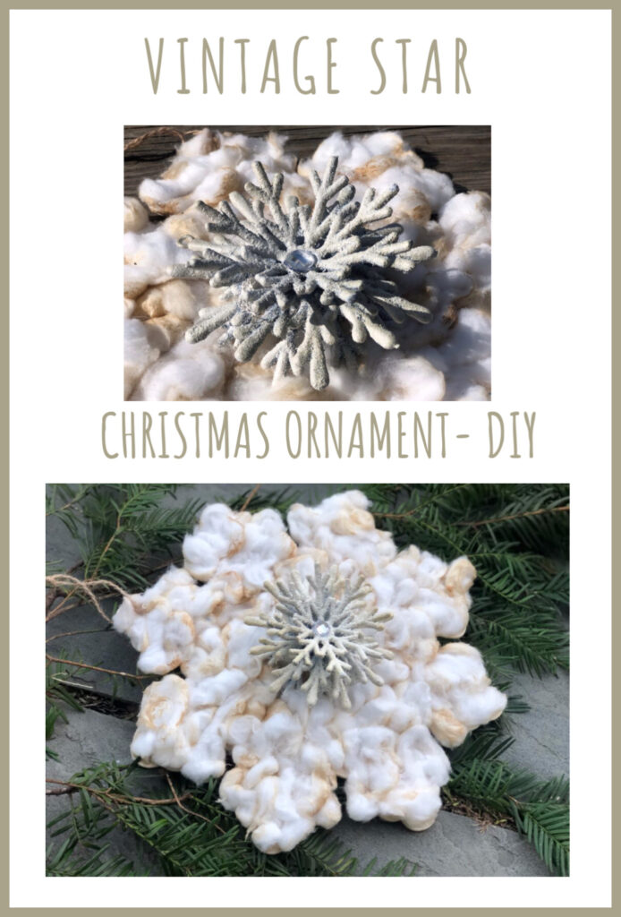 Oryginal Vintage Christmas snowflake. White Christmas holiday Dollar Tree snowflake diy. Cotton ball star ornament