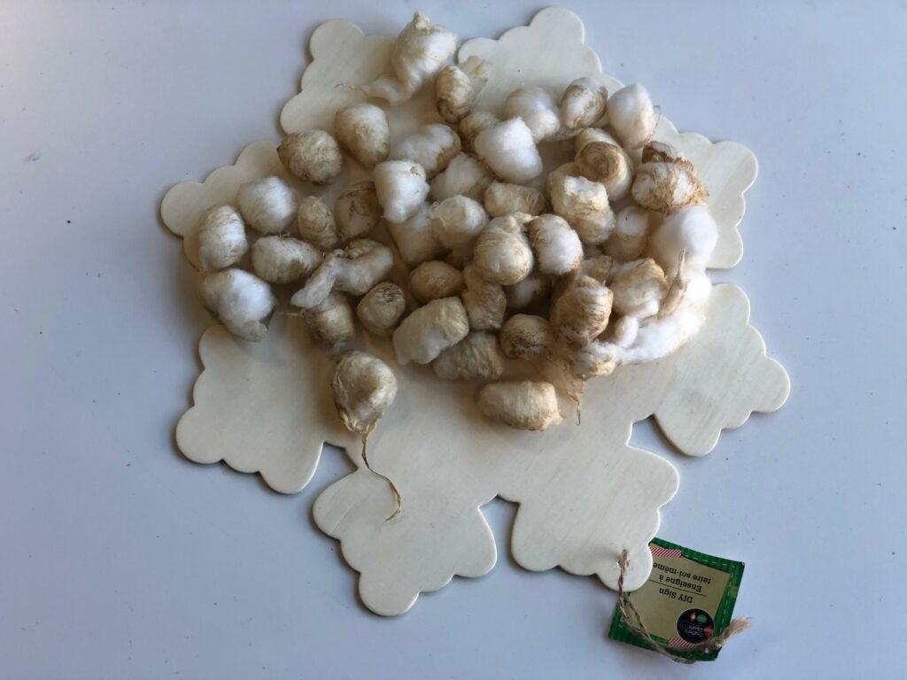 Vintage Star Christmas ornament diy .Coffee dipped cotton balls