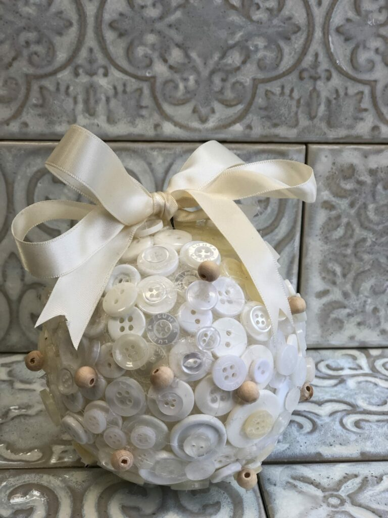 Learn how to make elegant cute button Christmas tree ornament with easy folded satin bow. Easy to follow Christmas craft DIY