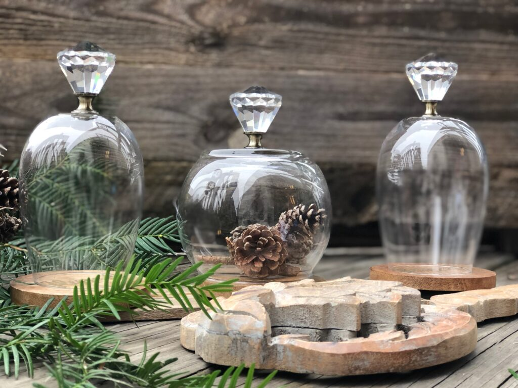 Glass cloche with crystal detail easy DIY