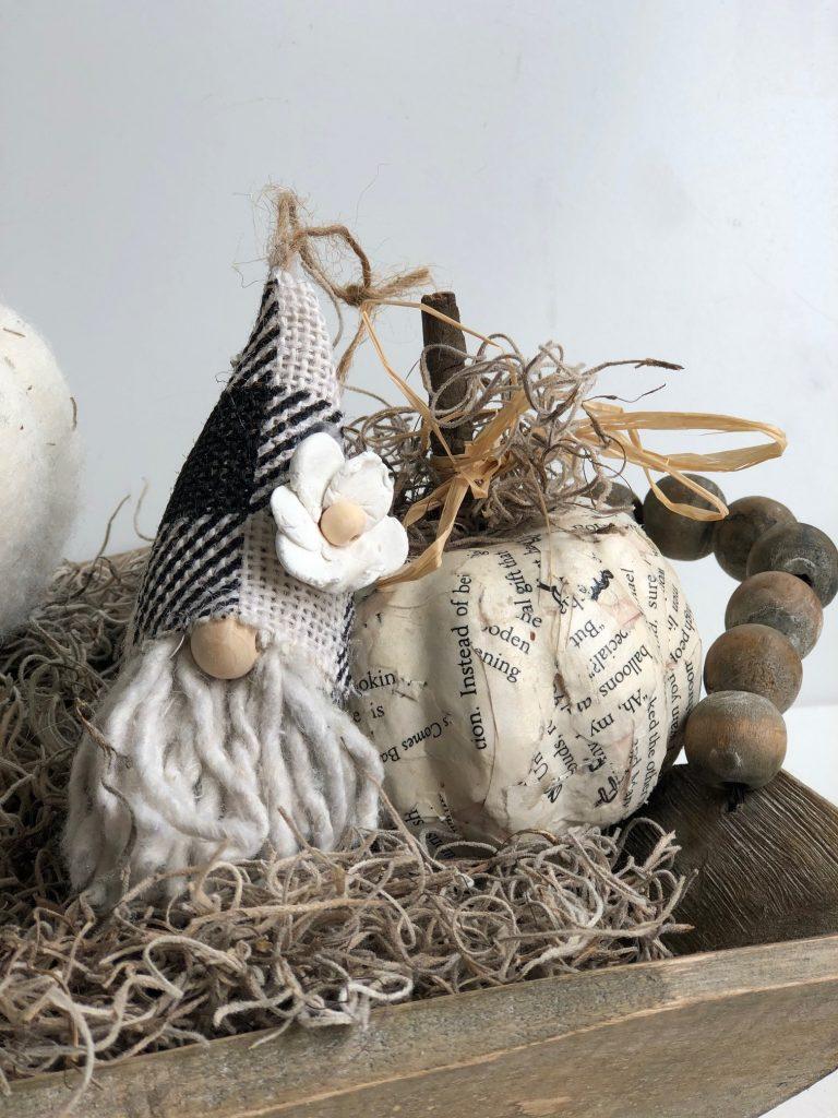Cutest mini pine cone Christmas Gnome ornaments around. Buffalo check gnome hat. Thrifty Christmas decor DIY. Dollar Tree mop