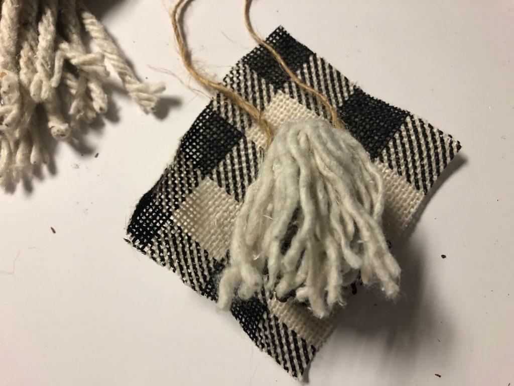 Mini gnome ornament hat buffalo check hat .Dollar Tree mop strings