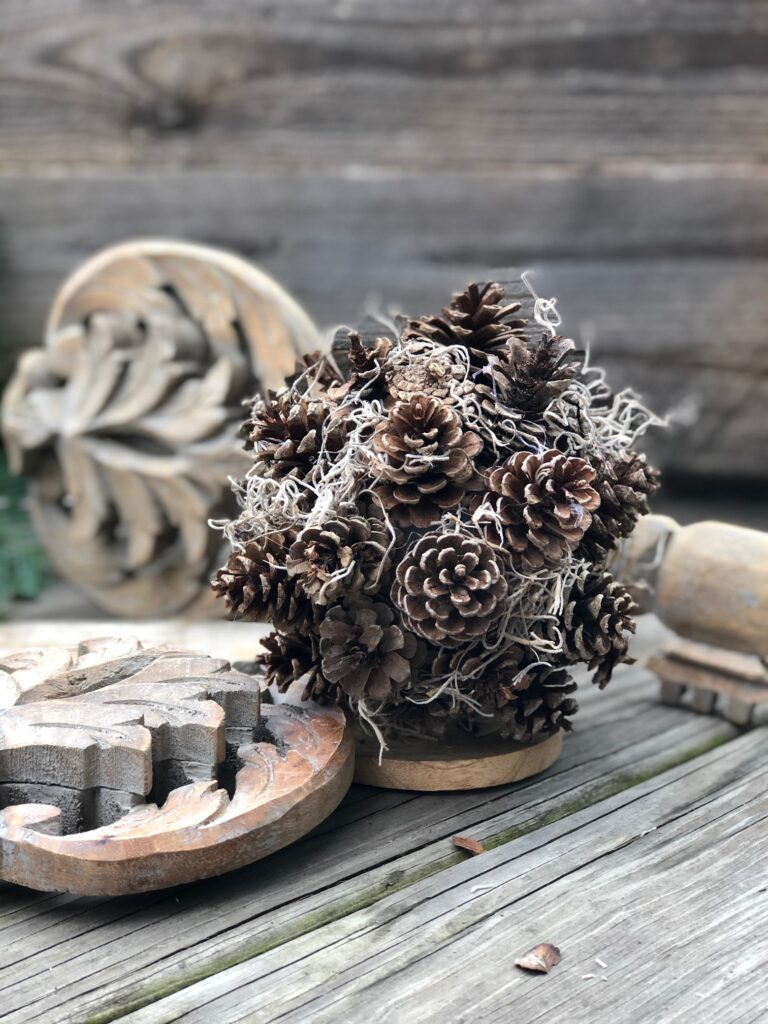 Pine cone sphere with Spanish moss DIY