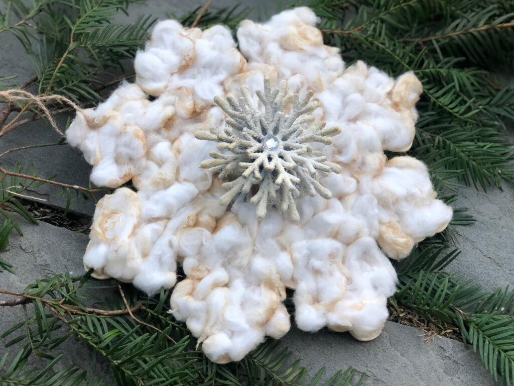 Vintage Star Christmas Ornament diy  .Coffee dipped cotton balls diy.