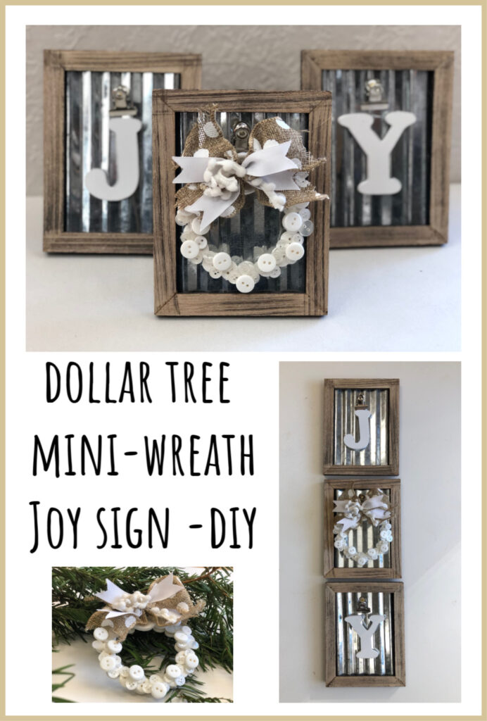 Elegant rustic JOY SIGN. Framed button mini Christmas tree wreath ornament DIY . Dollar Tree Christmas craft.Dollar Tree mini picture frame Christmas craft Diy. Christmas button wreath ornament diy, Button Joy sign diy
