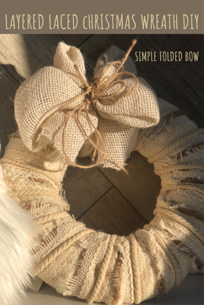 Learn how to make layered ribbon Christmas wreath. Laced ribbon wreath. Simple folded bow DIY . White Christmas Wreath. Rustic Christmas DIY