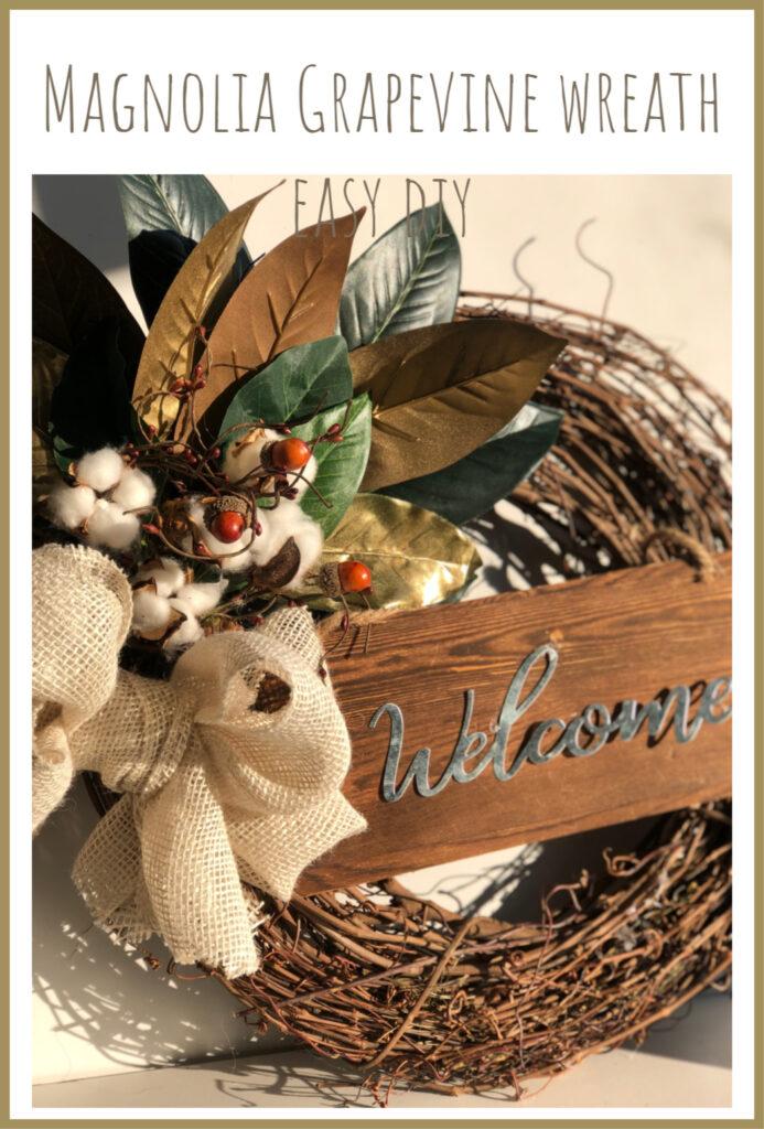 Learn how to make Super easy but elegant Magnolia Grapevine Wreath. Budget Friendly Wreath.