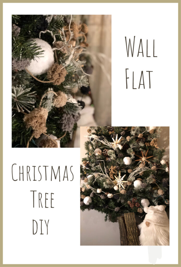 Wall Flat Christmas Tree idea is fantastic for someone that deals with a small space or with limited help in getting a real tree into the house.