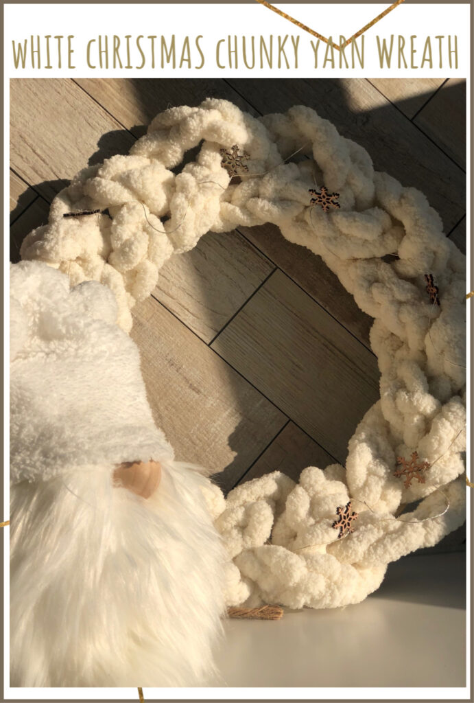 Learn how to make Braided Chunky Yarn White Christmas wreath. Easy simple Folded Bow. White Christmas Angel Gnome DIY