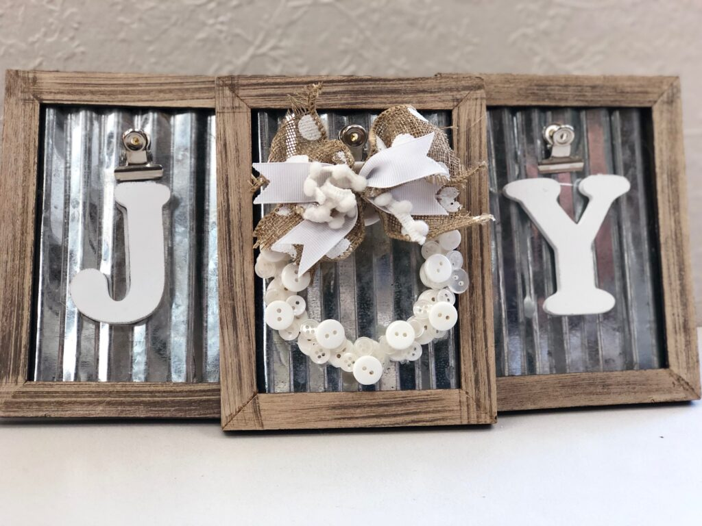 Elegant rustic JOY SIGN. Framed button mini Christmas tree button wreath ornament DIY . Dollar Tree Christmas craft.Dollar Tree mini picture frame Christmas craft Diy. Christmas button wreath ornament diy, Button Joy sign diy