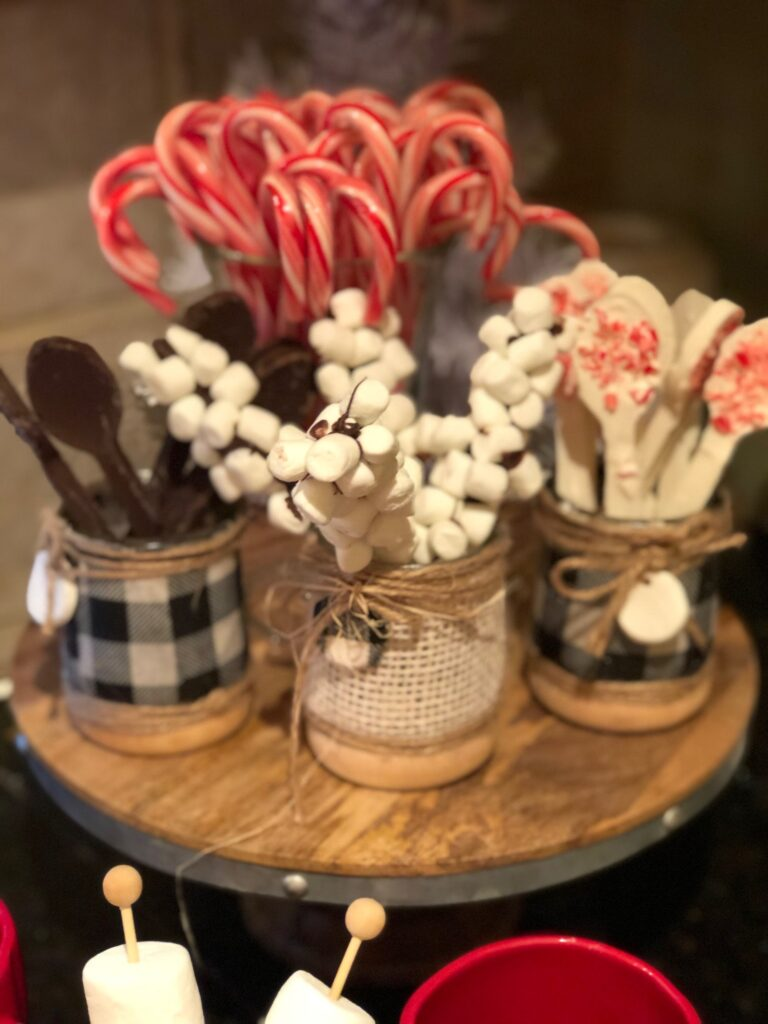 Chocolate stirrers and marshalows sticks for your hot cocoa bar on the Dollar Tree budget .Dollar Tree hot cocoa bar