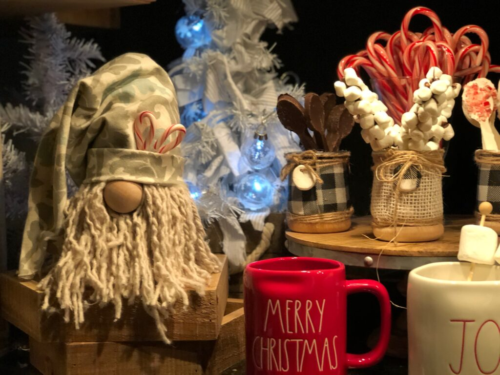 Hot cocoa set up. Christmas Gnome made out of Dollar tree mop