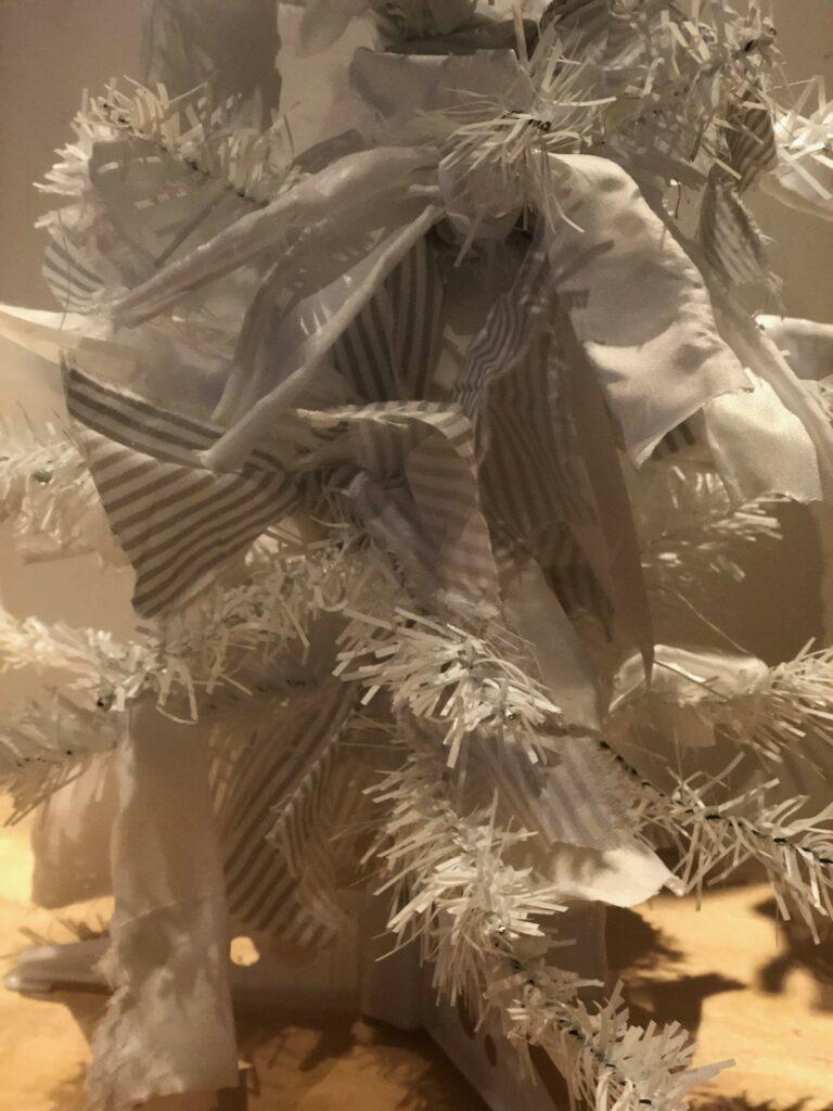 Rag White Christmas Tree diy. Dollar tree white tree makeover. Dollar Tree craft