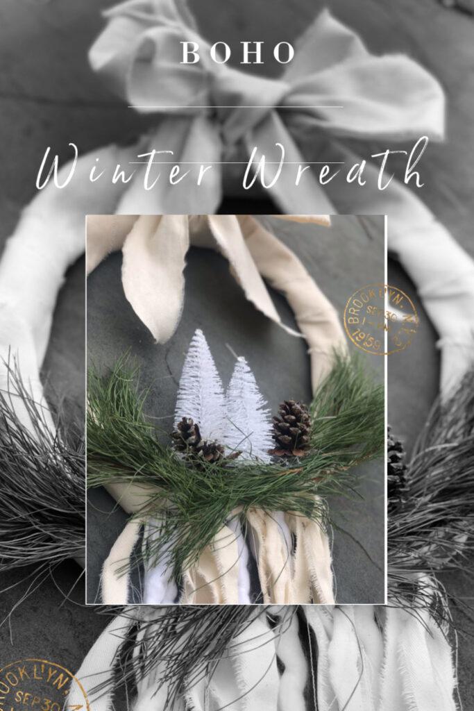 Learn how to make beautiful evergreen Farmhouse Boho  WINTER wreath. Wreeath DIY on the budget. Dollar tree home decor