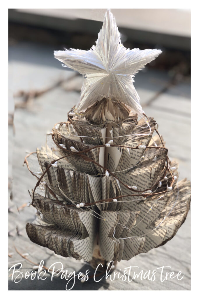 Make a Christmas tree out of book pages.Christmas decor on the Dollar tree budget.Christmas book pages craft