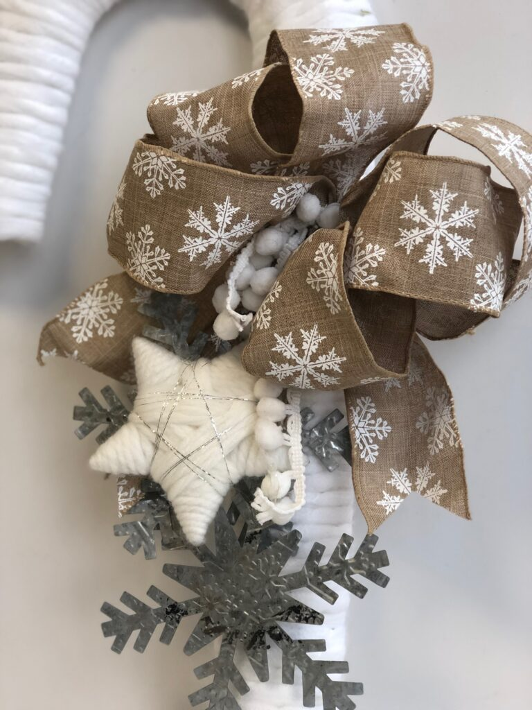 Elegant Rustic White Candy Cane Christmas Wreath with easy bow.Triple Folded Bow favorite Christmas  bow White Christmas