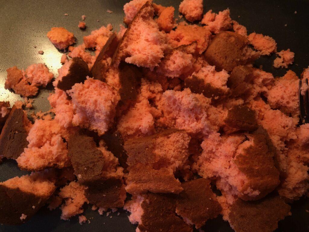 crumbled strawberry cake to make champagne truffles