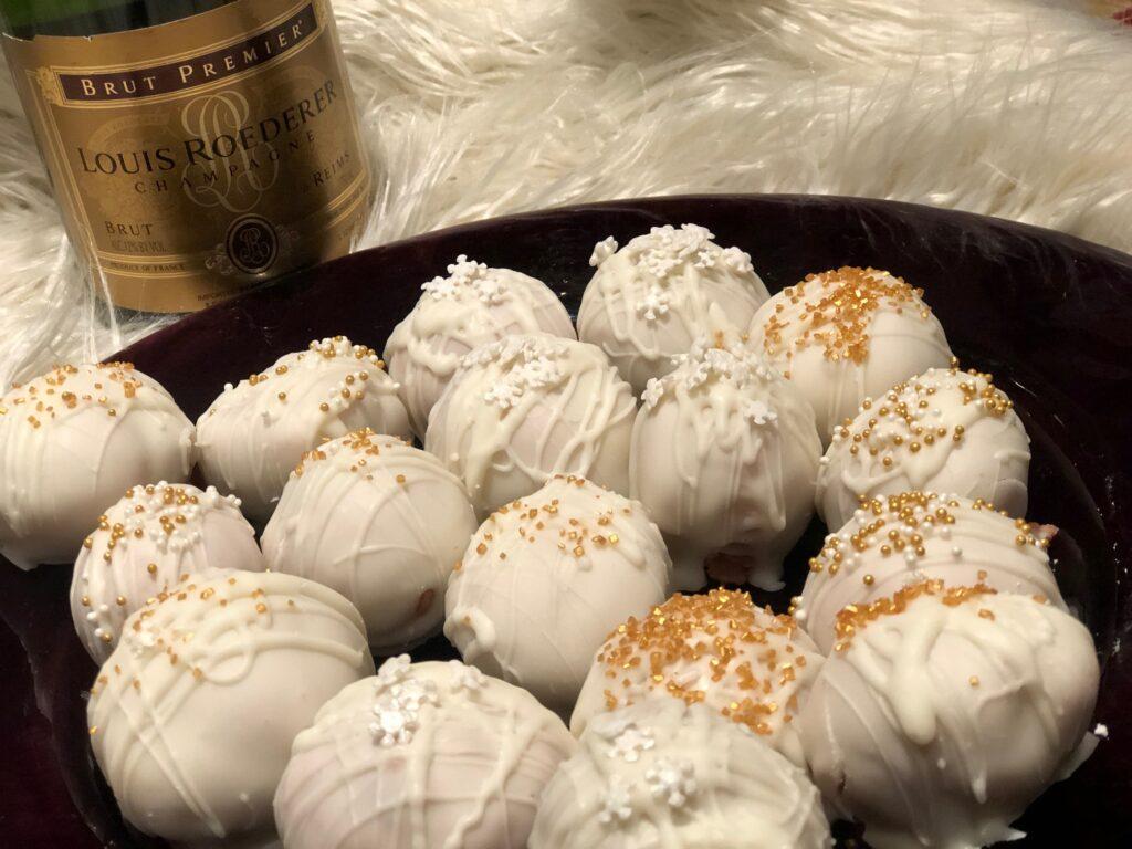 Super easy last minute Champagne treats. Learn how to make cake ball truffles.White chocolate dipped Champagne dessert. Champagne truffles