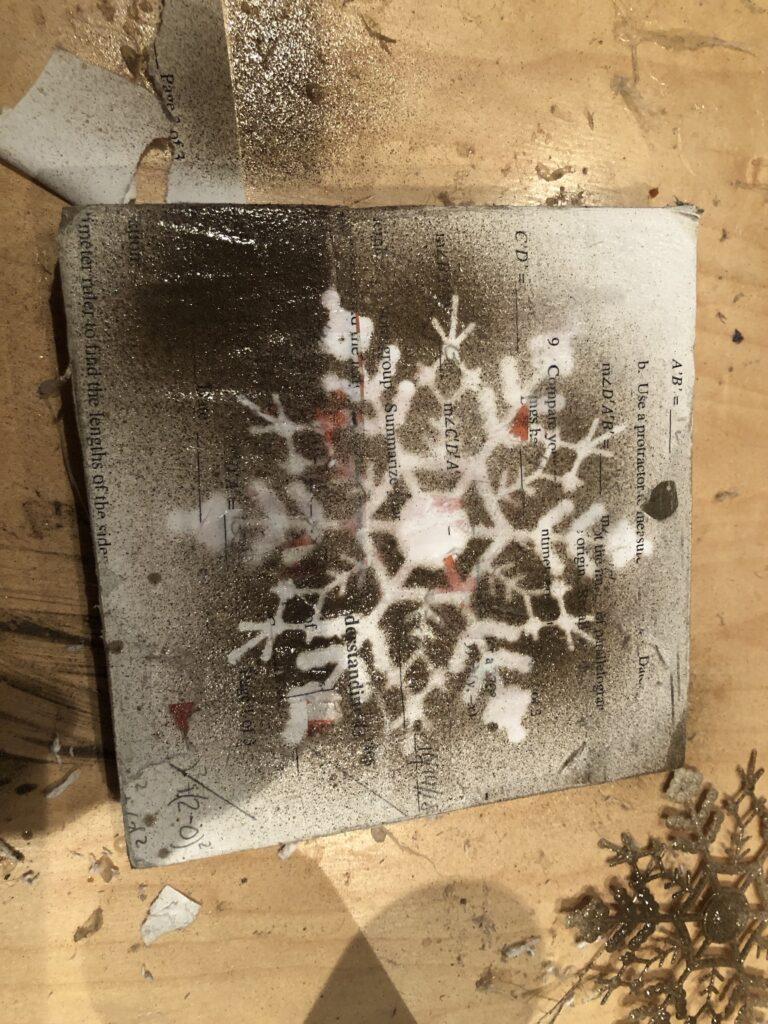 vintage farmhouse snowflake sign diy .Dollar tree winter decor