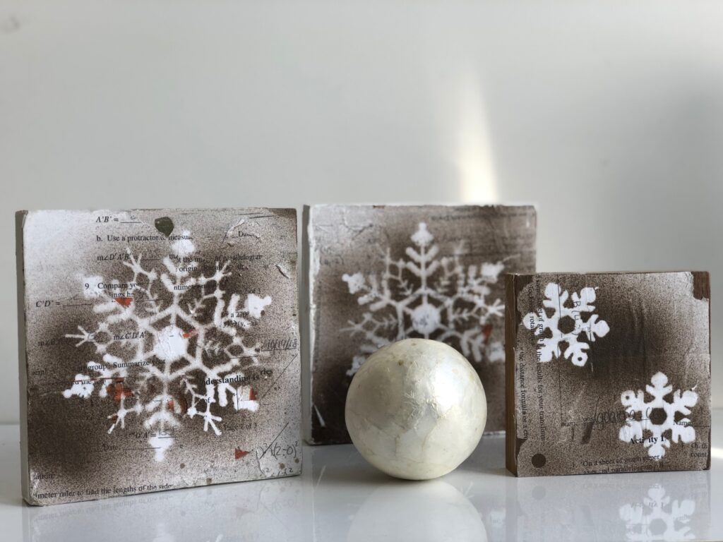 Learn how to make winter vintage farmhouse snowflake sign DIY .Dollar tree up-cycle craft