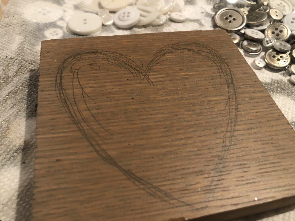 Wooden board for valentines day heart