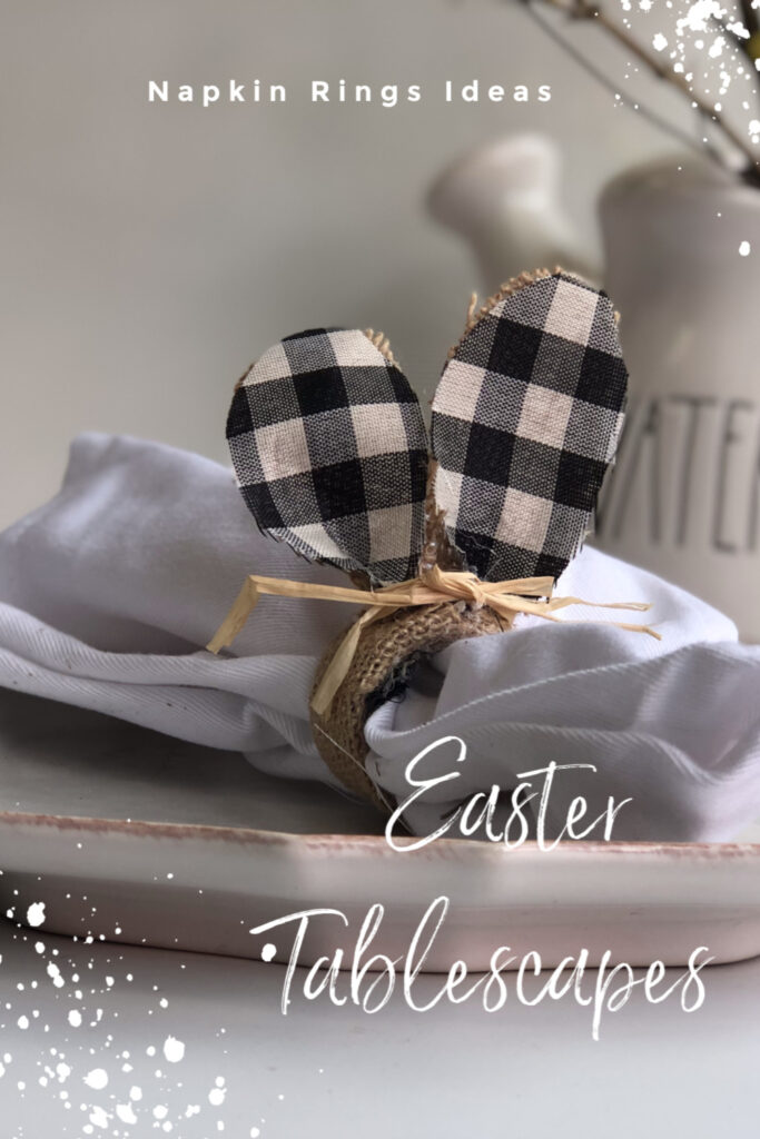 Let's make some budget friendly Easter napkin rings. Easter bunny buffalo check cutes tablescapes ideas. Budget friendly diy.Easter tablescapes