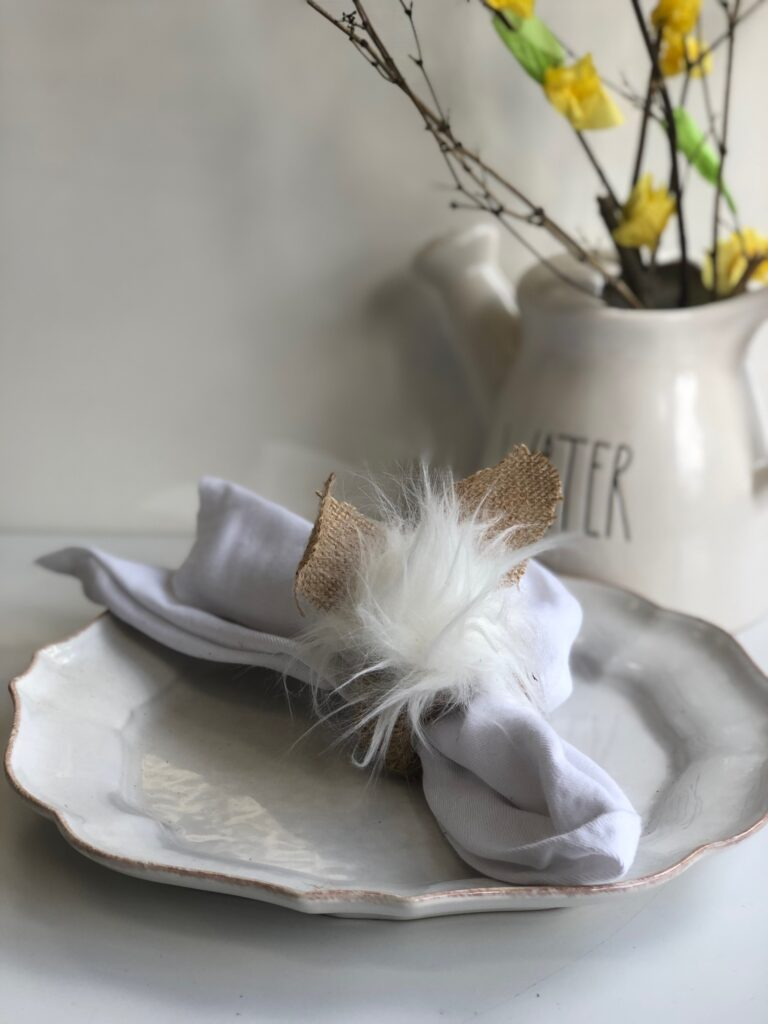 Let's make some budget friendly Easter napkin rings. Easter bunny buffalo check cutes tablescapes ideas. Budget friendly diy. Easter tablescapes