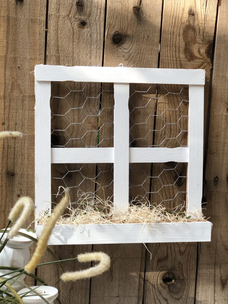 Farmhouse paint stir sticks Window DIY with a sill! Budget friendly project to decorate your house all year round. Dollar Tree home decor idea