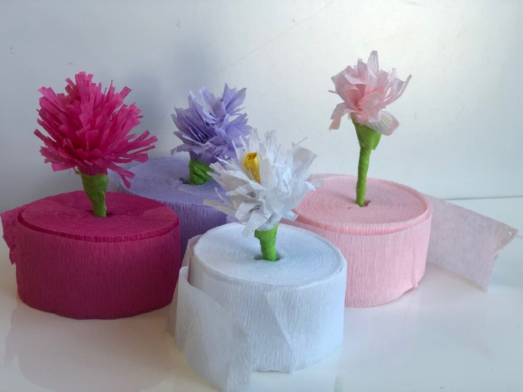 Let's bring some Spring feel into our home decor with crepe paper flowers. Super easy budget friendly  4 ways to bring some pop of color to your house