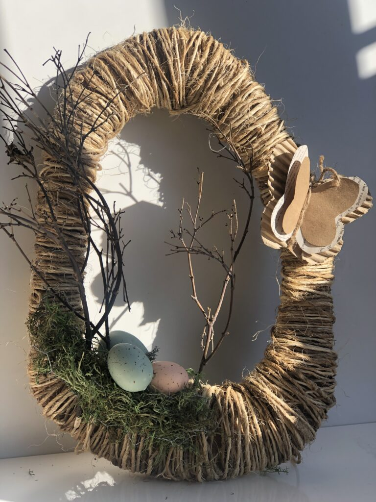 Are you ready to decorate on the budget for spring or Easter? Get your cardboard and some rope and lets create beautiful wall or mantel accent.