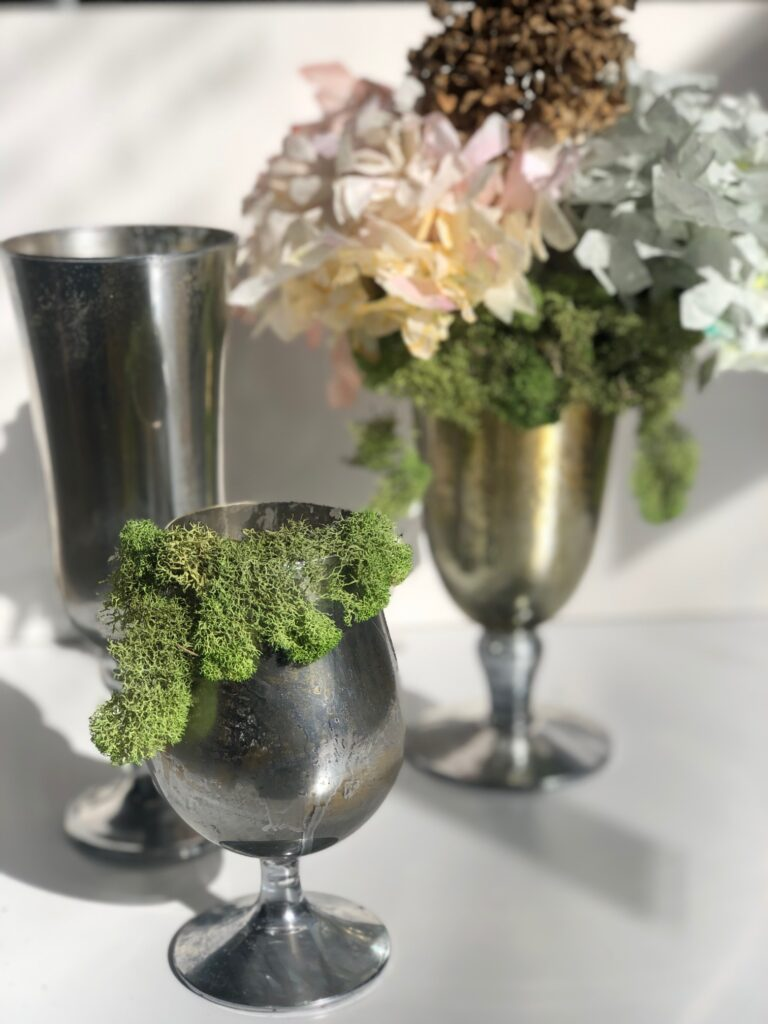 Learn with me how to turn your simple regular glass into this shabby and chic mercury antiqued beauty all on the budget. Spring moss mercury glass ideas