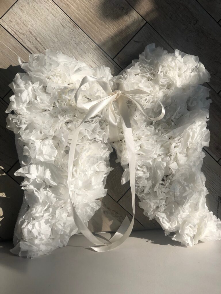 Coffee filter wreath. Angel wings