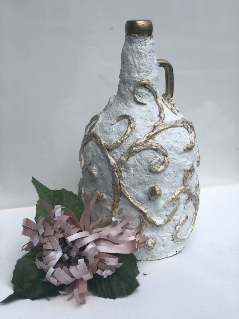 Let's have fun with egg carton craft. Paper Mache DIY. Turn your bottle into masterpiece. Budget friendly home decor idea. Paper Mashe craft  bottle makeover