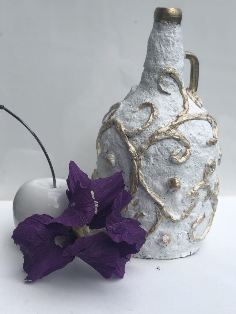Let's have fun with egg carton craft. Paper Mache DIY. Turn your bottle into masterpiece. Budget friendly home decor idea .Paper Mashe craft  bottle makeover