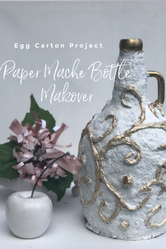 Let's have fun with egg carton craft. Paper Mache DIY. Turn your bottle into masterpiece. Budget friendly home decor idea Paper Mashe craft  bottle makeover