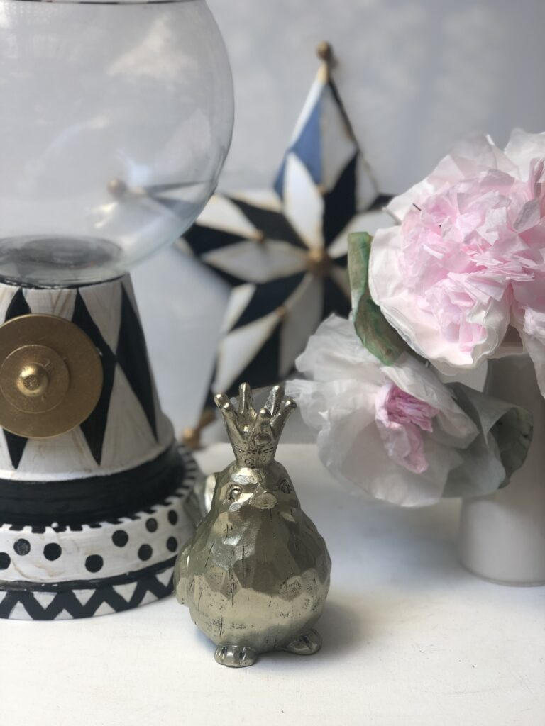 MacKenzie Childs is a chic way to decorate.Harlequin pattern DIY home decor ideas. Snow globe. Gumball terra cotta pots diy