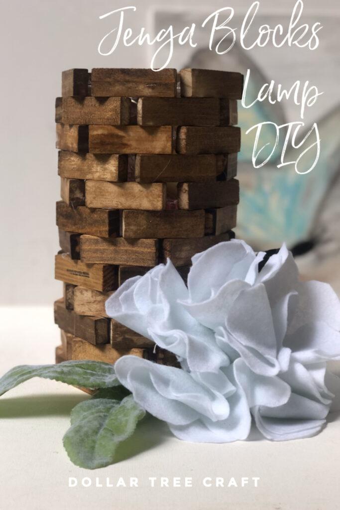 Learn how to make a Jenga blocks lamp diy. Dollar Tree jenga block diy. Budget friendly home decor craft diy. Modern Farmhouse lamp