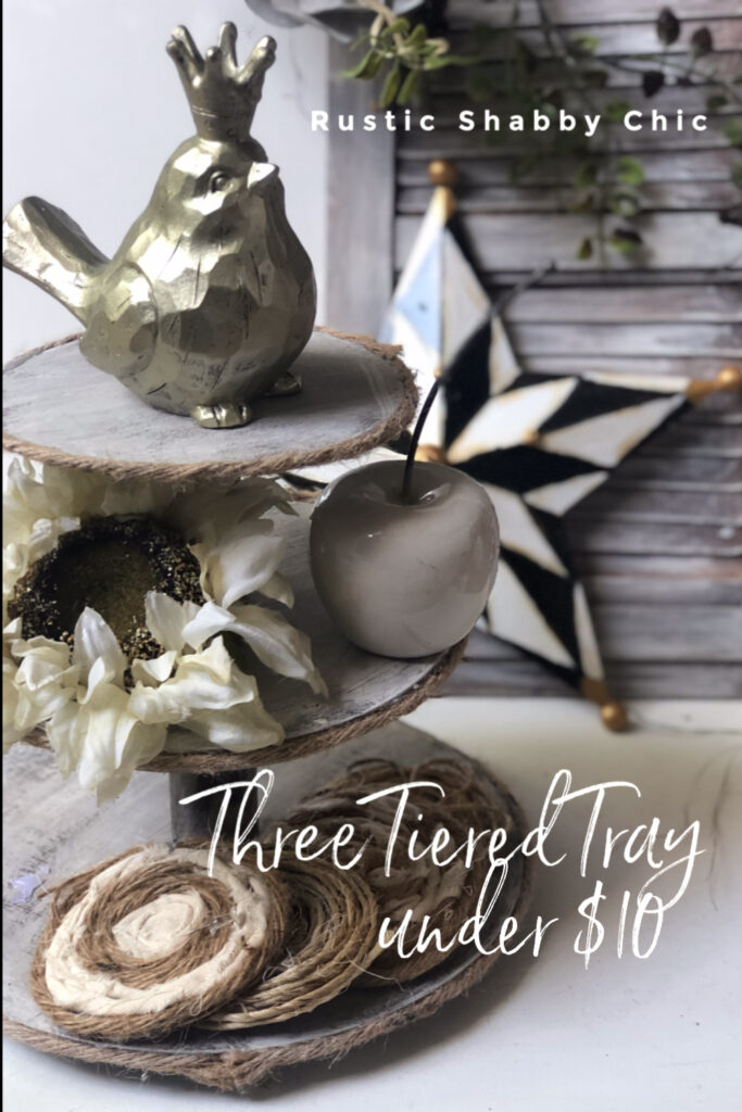 Learn how to make easy & stylish Rustic wooden tiered tray under $10. All season Home decor idea. Shabby Chic budget friendly display tray DIY