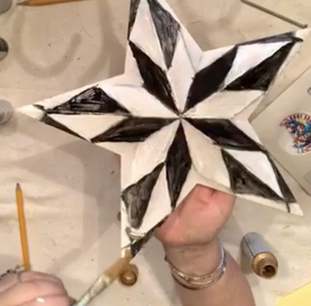 MacKenzie-Childs inspired home decor diy. Harlequin pattern star. Black and white elegant pattern diy. How to paint checkered pattern.